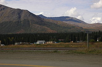 Cantwell, Alaska - Town of Cantwell, Alaska. Tracks for the Alaska Railroad run through the foreground.