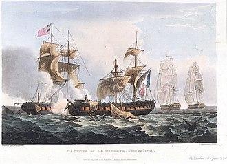 French ship Minerve - Image: Capture of Minerve off Toulon
