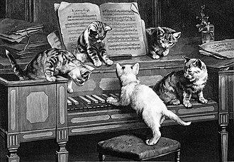 Cat fugue - Carl Reichert, Katzenfuge (engraving, 1870)