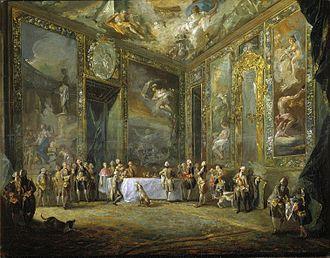 Rococo in Spain - Image: Carlos III comiendo ante su corte