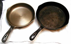 Seasoning (cookware) - Cast iron skillets, before seasoning (left) and after several years of use (right)