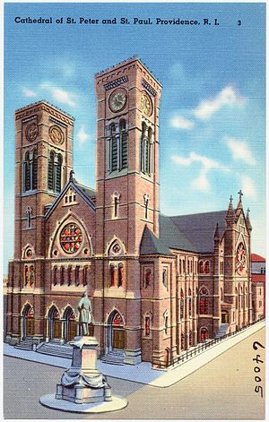 Cathedral of Saints Peter and Paul (Providence, Rhode Island) - Postcard dated 1930 - 1945 shows the statue of Mayor Doyle in Cathedral Square.