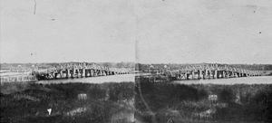 The Causeway - Stereoscopic photograph of the original Perth Bridge taken c.1862
