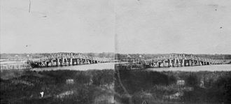 The Causeway - Stereoscopic photograph of the original Perth Bridge taken c.1862