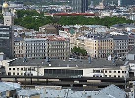 Central railway station in Riga seen from Latviana Academy of Sciences.jpg