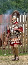 A re-enactor as a Roman centurion, c. 70.