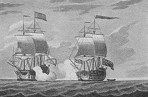 HMS Centurion (1732) - Centurion capturing the Covadonga