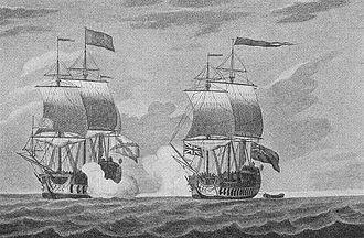 HMS Centurion (1732) - Centurion capturing the Covadonga