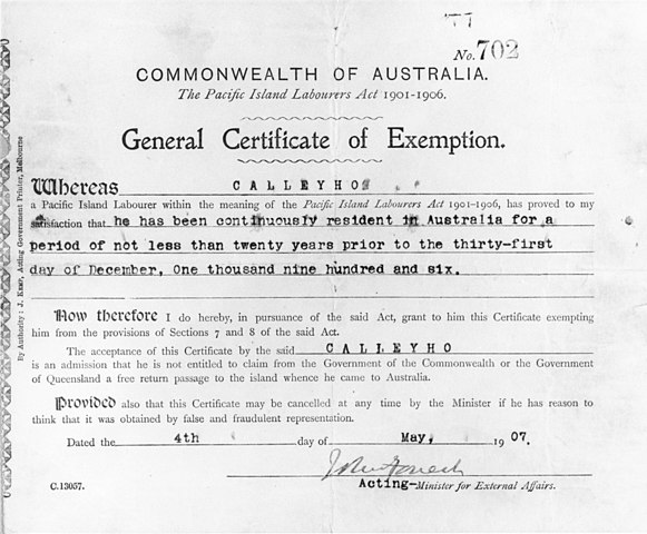 File:Certificate of exemption of Calleyho, 1907 (9205550004).jpg ...