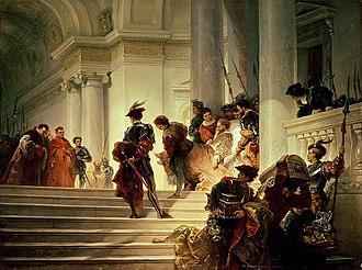 Cesare Borgia - Cesare Borgia leaving the Vatican (1877) by Giuseppe Lorenzo Gatteri