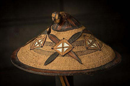 The traditional hat (Tengaade) of the Fulani people worn in diverse slightly different variations among every Fula subgroup Chapeau berger Peul-Institut d'ethnologie de Strasbourg-2.jpg