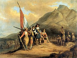 Romanticised painting of an account of the arrival of Jan van Riebeeck.