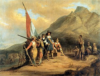 The arrival of Jan van Riebeeck, leading the first European settlement in South Africa. Charles Bell - Jan van Riebeeck se aankoms aan die Kaap.jpg