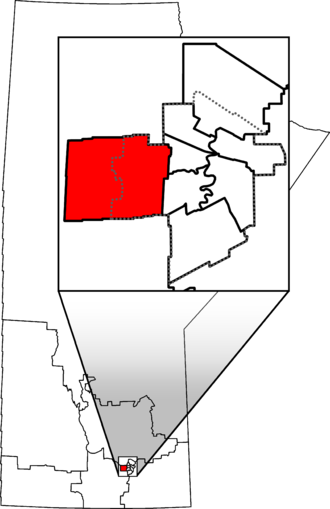 Charleswood—St. James—Assiniboia—Headingley - Charleswood—St. James—Assiniboia—Headingley in relation to other Manitoba federal electoral districts as of the 2013 Representation Order. Dotted line shows Winnipeg city limits.