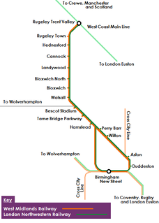 Chase Line suburban railway line in the West Midlands region of England
