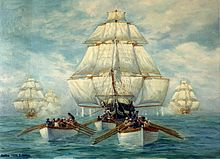 A painting of a ship with all sails up and a pursuing squadron behind it. In the foreground are small boats.