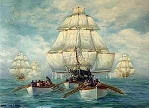 USS Constitution vs HMS Guerriere - Constitution escapes the British squadron.