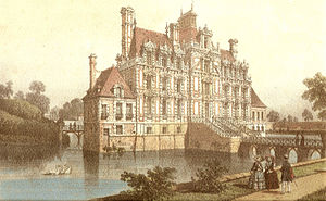 Château de Beaumesnil - Eastern facade of the Château de Beaumesnil, taken from a drawing dated 1820