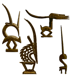 Comparison of the four major styles of The Chi Wara / Chiwara / Chi-Wara mask of the Bambara people of Mali. Left to right Abstract / Bougouni / Southern region style, Vertical/ Segu/ Northern region style, the Horizontal / Bamako / Northern region style, and the Abstract / Sikasso region style