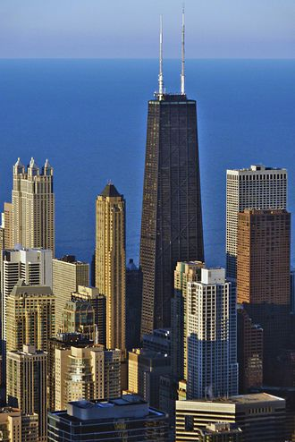 John Hancock Center - As seen from the Willis Tower, Lake Michigan is the backdrop.