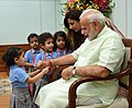 Children tying 'Rakhi' on the Prime Minister, Shri Narendra Modi's wrist, on the occasion of 'Raksha Bandhan', in New Delhi on August 26, 2018 (4).JPG