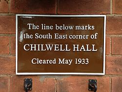Photo of Chilwell Hall brown plaque