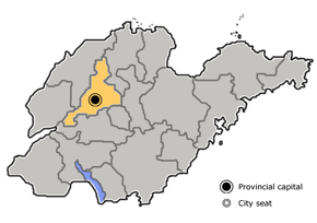 Jinan is highlighted on this map