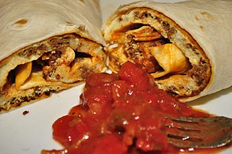 Salsa (sauce) - A chorizo and egg breakfast burrito with salsa