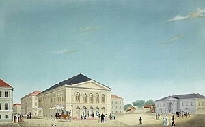 Christiania Theatre - Christiania Theatre in the 19th century,  gouache by architect Christian H. Grosch.