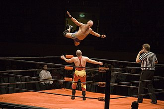 Professional wrestling - A wrestler (Christopher Daniels) leaps off the top rope