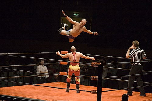 A wrestler (Christopher Daniels) leaps off the top rope Christopher Daniels 1.jpg