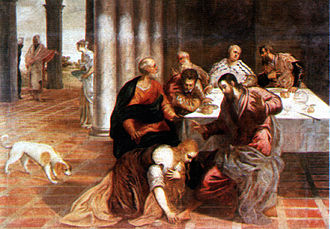 Pharisees - Jesus at the house of the Pharisean, by Jacopo Tintoretto, Escorial