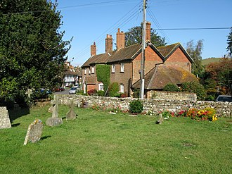 Newington, Folkestone & Hythe - Image: Church cottages from the churchyard geograph.org.uk 1526801