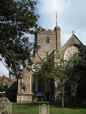 Folkestone - Church of St Mary and St Eanswythe, in the town centre, contains the remains of St Eanswythe, daughter of Ethelbert of Kent.