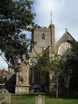 Folkestone - Church of St Mary and St Eanswythe, in the town centre, contains the remains of St Eanswythe, granddaughter of Ethelbert of Kent.