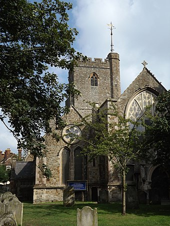 Church of St Mary and St Eanswythe, in the town centre, contains the remains of St Eanswythe, granddaughter of Ethelbert of Kent. Church of St Mary and St Eanswythe, Folkestone 01.JPG