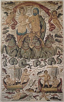 Triumph of Poseidon and Amphitrite showing the couple in procession, detail of a vast mosaic from Cirta, Roman Africa (ca. 315–325 AD, now at the Louvre)