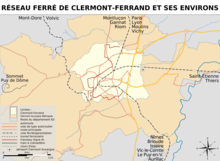 Carte du réseau ferré (tramway et train) de l'agglomération