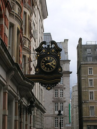 Southampton Street, London - Clock in Southampton Street, outside the British Computer Society offices, looking south towards the Strand.