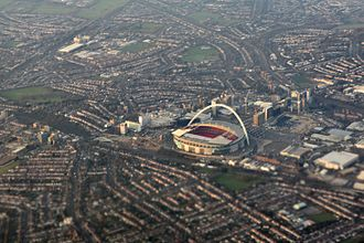 Wembley - Aerial view of Wembley and its stadium