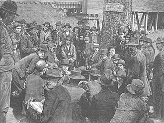 Coal Creek War - Drawing in Harper's Weekly showing miners gathered at Thistle Switch on July 16, 1891.