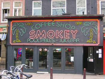 English: Smokey Coffee Shop in Amsterdam