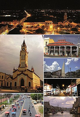 Clockwise frae tap: Iquitos cityscape at nicht; Airn Hoose; minimalist airchitectur o the schuil auditorium St. Augustine; the commercial Jiron Prospero; Aquatic Avenue in the famous neighborhuid o Bethlehem; Abelardo Quiñones Avenue an the vehicular traffic o motorcycle taxis; an Iquitos Cathedral.