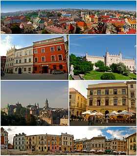 Top: panorama of Old Town Lublin, including Crown Tribural Second left: façade buildings in Staego Street. Second right: Lublin Castle. Third left: view of Tynitarska Tower, Cracow Gate, and many of historical built from Miasto Square. Third right: Tentement house in Klonawica Street, Bottom: view of Plac po Farze area