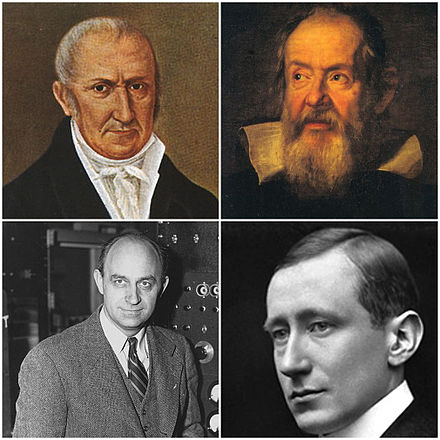 Clockwise from top: Alessandro Volta, inventor of the electric battery and discoverer of methane; Galileo Galilei, recognised as the Father of modern science, physics and observational astronomy; Guglielmo Marconi, inventor of the long-distance radio transmission; Enrico Fermi, creator of the first nuclear reactor, the Chicago Pile-1 Collage scienziati italiani.jpg