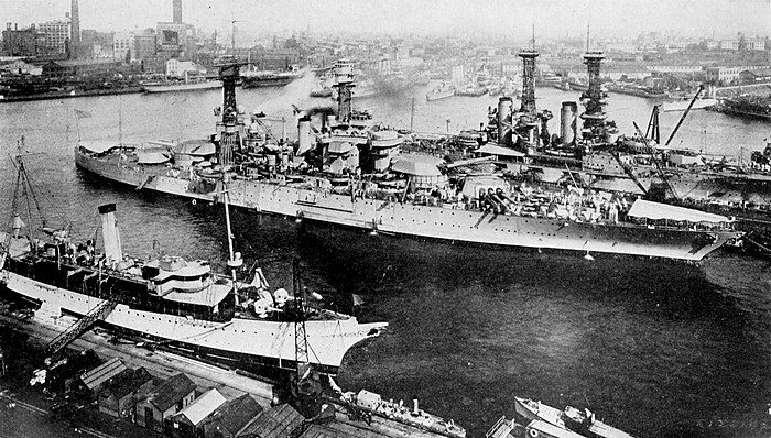 "Collier's 1921 Navy Department, United States - ""Tennessee"" at the Brooklyn Navy Yard.jpg"