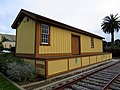 Colma station freight house, March 2018.JPG