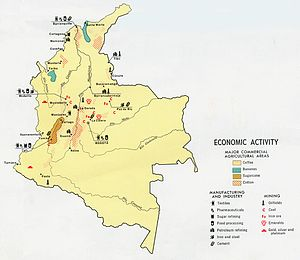 Economic history of Colombia - Map of economic activity in Colombia, 1970