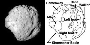 Comet Wild 2 exhibits jets on lit side and dark side, stark relief, and is dry.