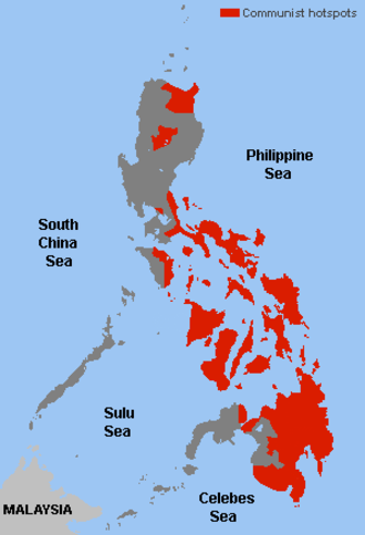 Communist rebellion in the Philippines - Main hotspots of Communist activities in the Philippine archipelago during its heyday in the 1970s and 1980s.